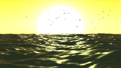 Loopable FullHd 3d sea with great sunset Stock Video Footage