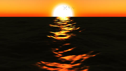 Loopable FullHd 3d sea with great sunset Animation