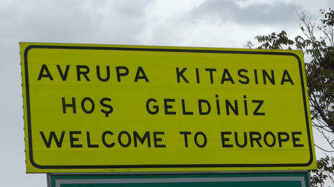 """""""Welcome to europe"""" sign Stock Video Footage"""
