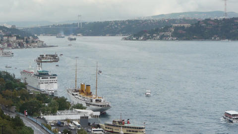 Istanbul over the Bosphorus brigde Footage