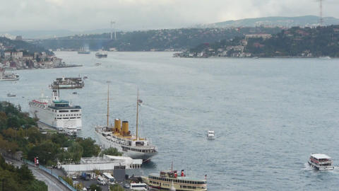 Istanbul over the Bosphorus brigde Stock Video Footage