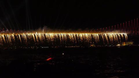 Firework over bridge Stock Video Footage