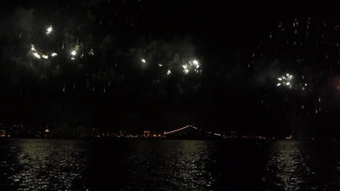 Firework over sea Footage
