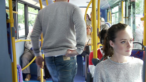 Interior Of Bus With Passengers Getting On Footage