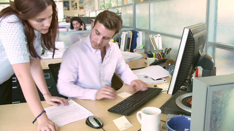 Man Working At Computer In Modern Office Footage
