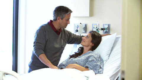 Husband Visiting Wife In Hospital Footage