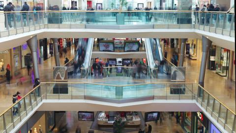 Time Lapse Sequence Of Shoppers In Mall Footage