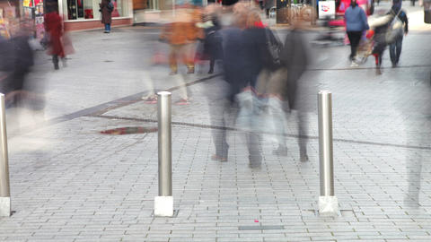 Time Lapse Sequence Of Shoppers On Busy Street Footage