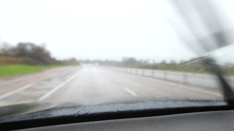 Rainy Car Journey Viewed Through Windscreen Live Action