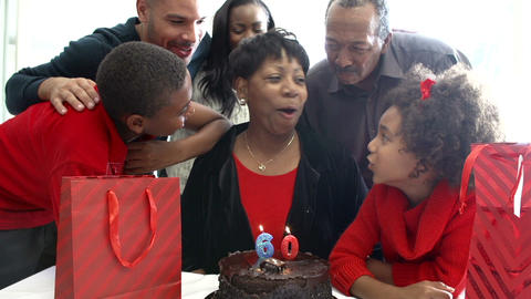 Family Celebrating 60th Birthday Together Footage
