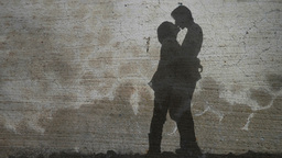 Vintage Couple Kissing Silhouette Footage