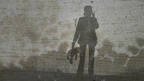 Grunge Silhouette of Girl with Teddy Bear Footage