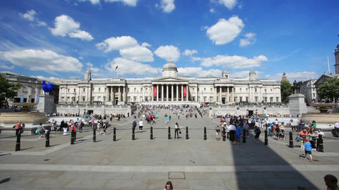 Time Lapse Of Trafalgar Square In London With Blue stock footage
