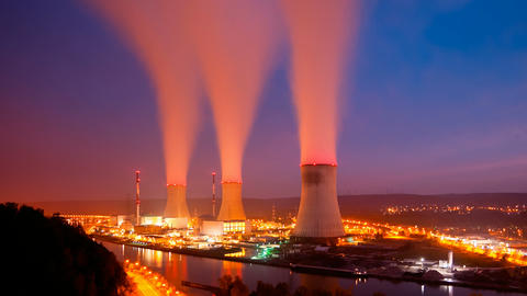 Nuclear Power Station At Night Long Exposure Time  Footage