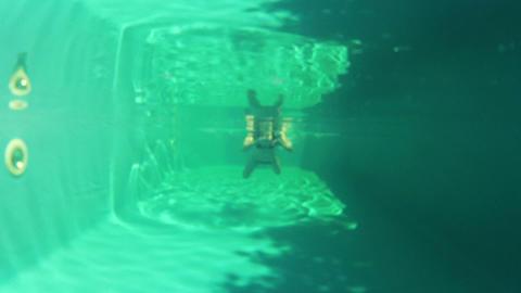 Pretty girl in bikini swimming in the pool underwa Footage