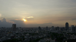 Sun Setting Behind Storm Clouds In Bangkok Time La stock footage