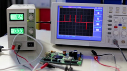 Oscilloscope peak pulses on the screen Footage