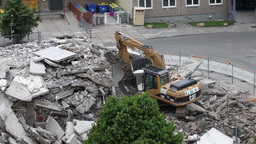 Dismantling Of The Old House In Gera stock footage
