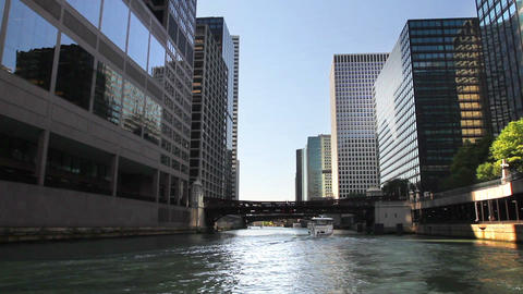 Floating Down Chicago River Time Lapse 2 stock footage