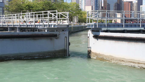 Chicago Harbor Lock stock footage