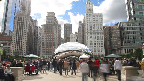Crowd at Millennium Park Time Lapse Footage