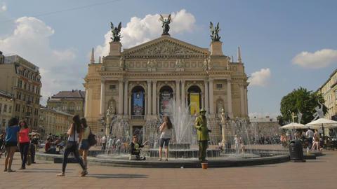 Ukraine, Lviv Theater of Opera . Timelapse. May 28 Footage
