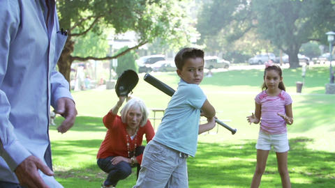 Grandparents Playing Baseball With Grandchildren I Footage