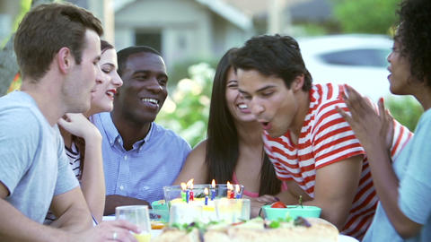 Group Of Friends Celebrating Birthday Outdoors Tog Footage