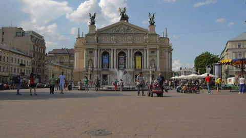 Ukraine, Lviv Theater of Opera . Timelapse. May 28 ビデオ