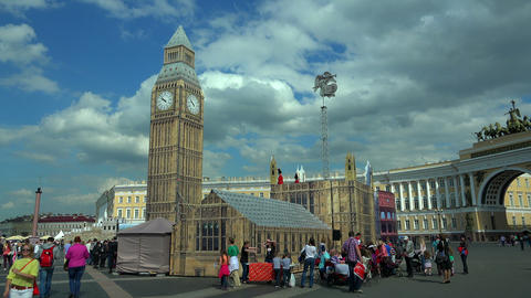 The model of big Ben on the Palace square in St. P Footage
