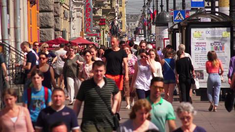 Nevsky prospect. Saint-Petersburg. People go along Footage