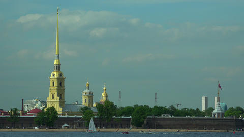 Peter and Paul fortress in St. Petersburg.4K Footage