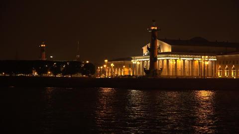 Stock exchange building in St. Petersburg. Rostral Footage