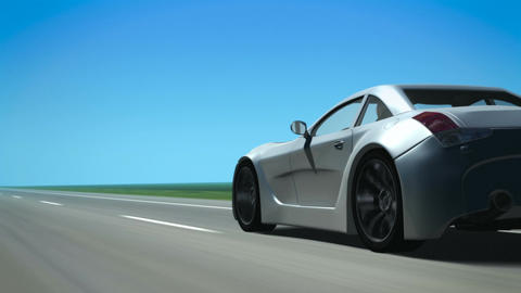 Silver Sports Car (from behind, looping background Animation