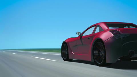 Red Sports Car (Looping Motion Background) Animation