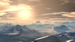 Bronze sunset in the mountains Animation
