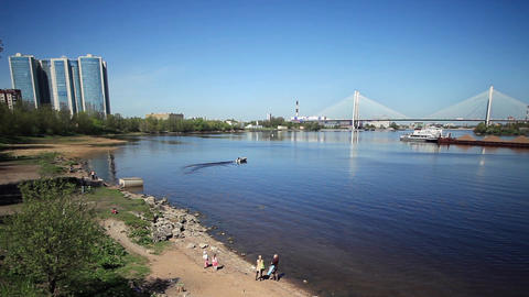 scenic views of the River Neva time lapse Footage