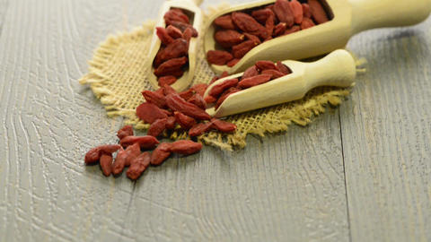 Goji berries on a wooden spoons Live Action