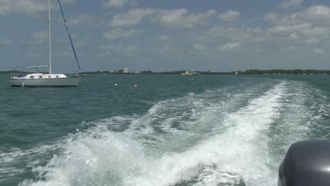 Motorboat leaving Key West Footage