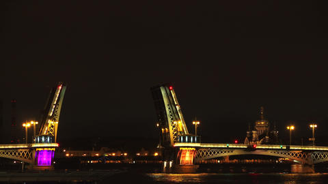 Blagoveshchensky drawbridge. Saint-Petersburg. 4K Footage