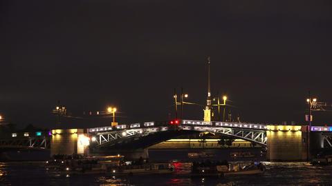 Palace Drawbridge. Saint-Petersburg. Timelapse. 4K stock footage