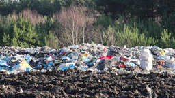 Garbage at landfill. Forest in background Live Action