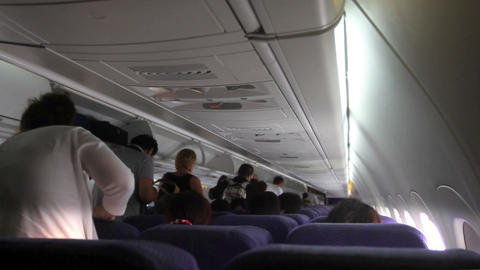 People Exiting Aircraft stock footage