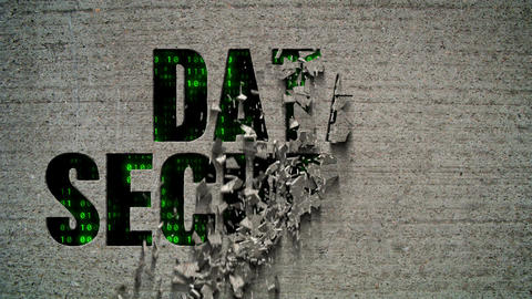 Data Security Binary Code Crumbling Wall Animation