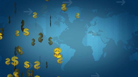 Dollar sign on world map Animation