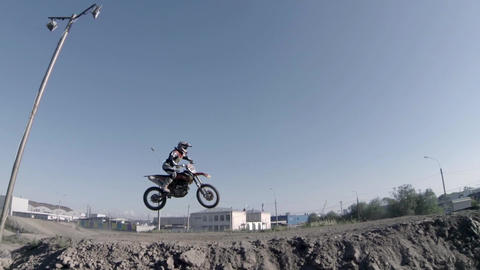 jumping on a motorcycle sequence Footage