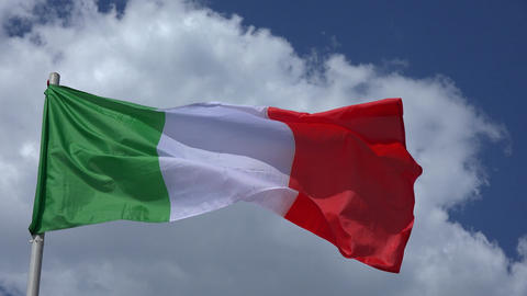 Flag Of Italy. 4K Live Action