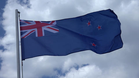 Flag Of New Zealand. 4K Footage