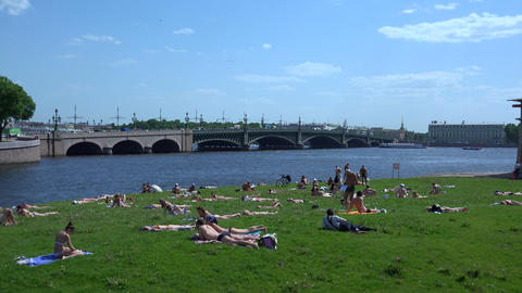 The beach at the Troitsky bridge in St. Petersburg Footage