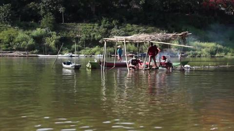 Group Fishermen Mekong River Laos 1 Footage